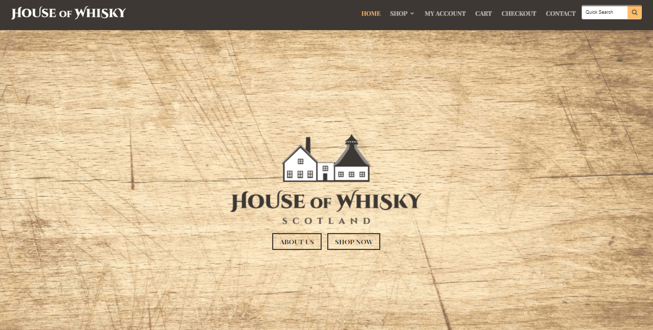 Captura de pantalla de la página de inicio de House of Whisky Scotland.